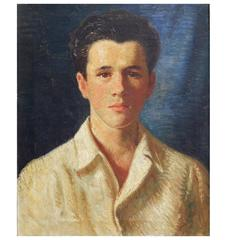 """Youth in White Shirt,"" Superb 1930s Era Portrait of Male Figure by Muncy"