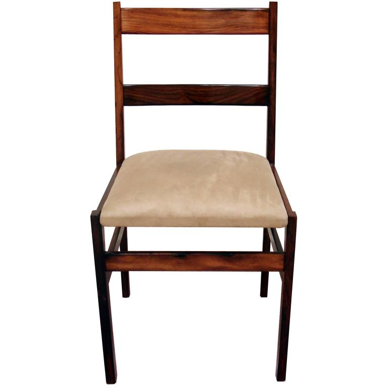 Vintage 1970s Suede Upholstered Jacarandá Dining Chair For Sale