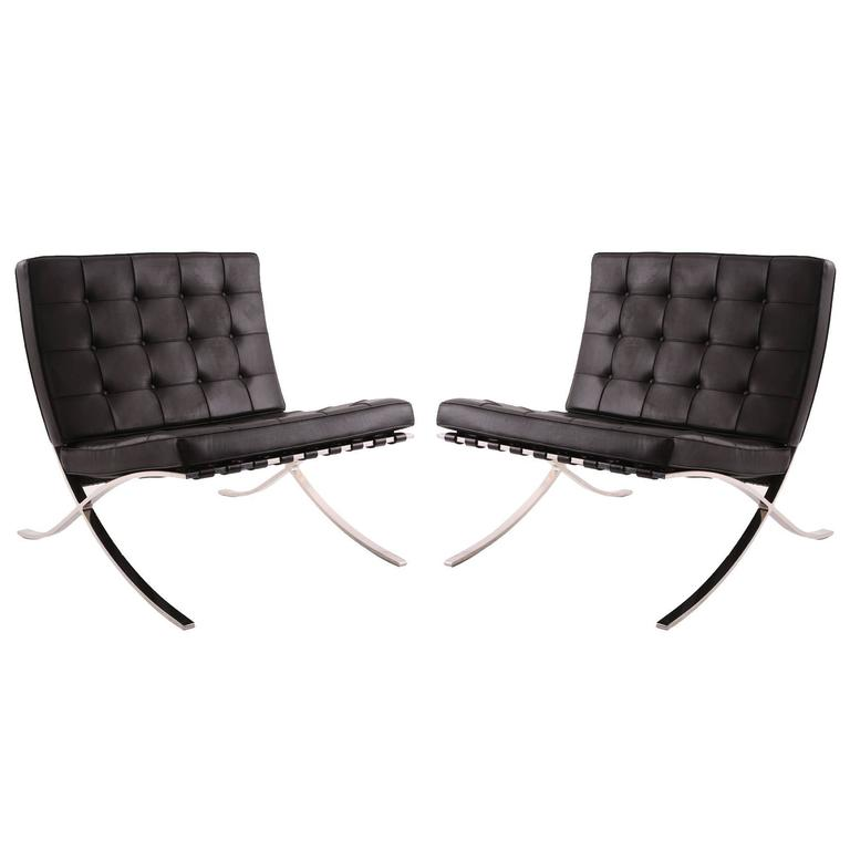 this pair of all original mies van der rohe for knoll barcelona chairs. Black Bedroom Furniture Sets. Home Design Ideas