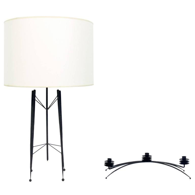 Sculptural California Modern Iron Lamp and Candelabra by Tony Paul