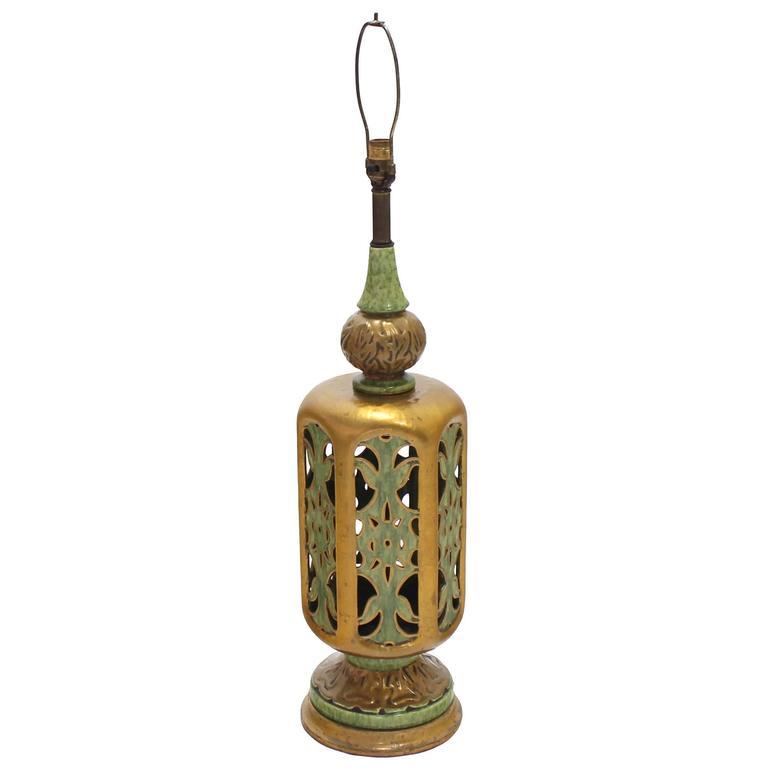 Large Ornate Art Pottery Base Table Lamp