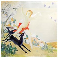 """Diana Running with Deer,"" Fabulous, Large Art Deco Mythological Mural, Square"