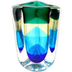 Fulvio Bianconi Venini Murano Signed Sommerso Italian Art Glass Flower Vase