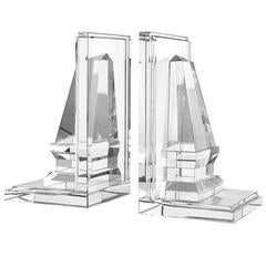 Obelisks Bookend, Set of Two in Strong Crystal Glass