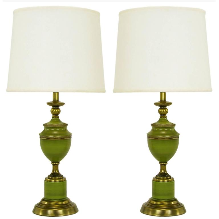 Pair Of Rembrandt Lamps Antiqued Brass U0026 Green Lacquer Empire Style Table  Lamps For Sale