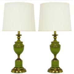 Pair of Rembrandt Lamps Antiqued Brass & Green Lacquer Empire Style Table Lamps