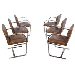 Set of Six Flat Bar Brno by Mies van der Rohe for Knoll