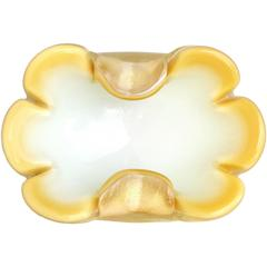 Archimede Seguso Murano Yellow Gold Flecks Italian Art Glass Decorative Bowl