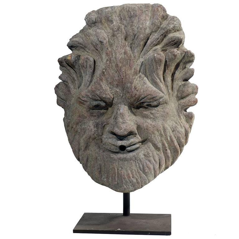 Early Limestone Fountain Head For Sale