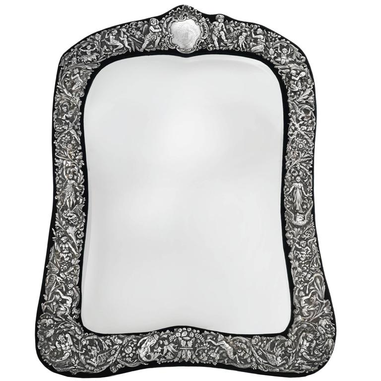 Victorian Sterling Silver Table Mirror by William Comyns, London, 1890 For Sale