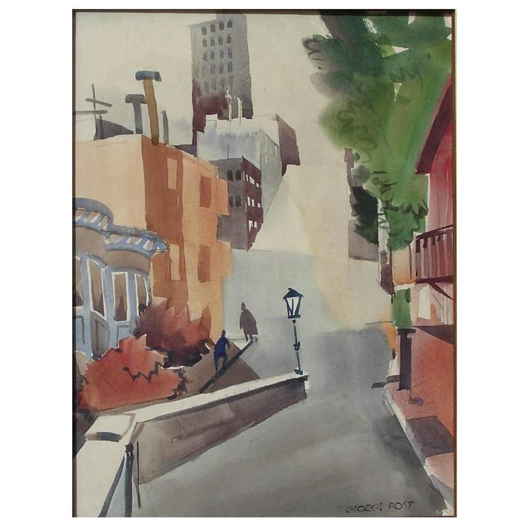 George Post Watercolor, San Francisco, Leavenworth Street