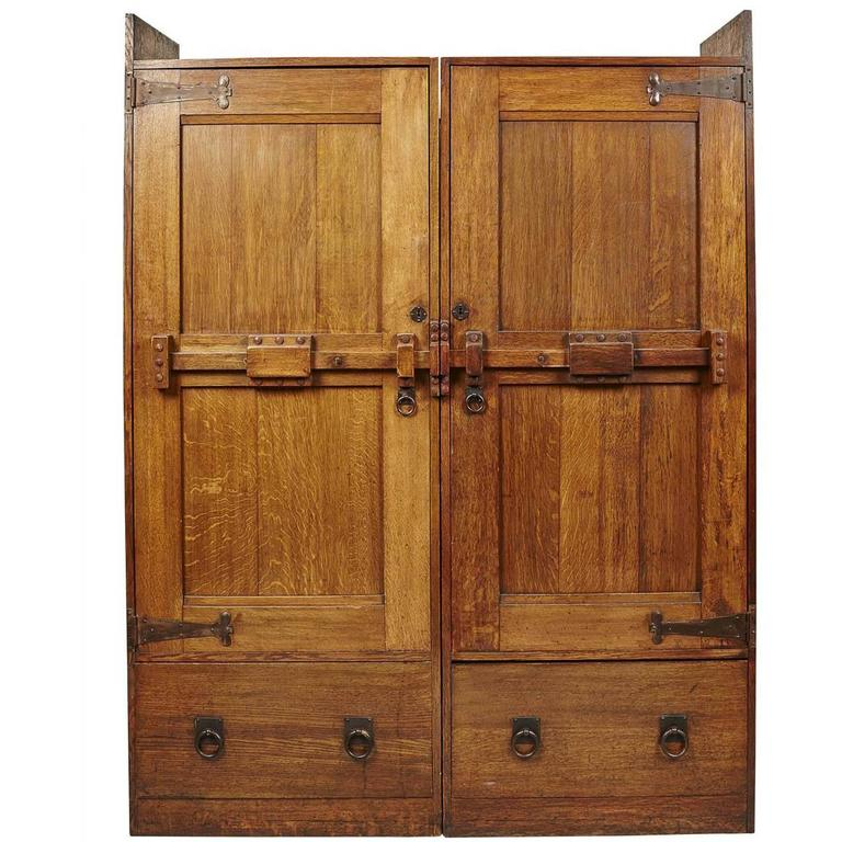 Arts and crafts oak wardrobe by wylie and lochhead for for Arts and crafts storage cabinet