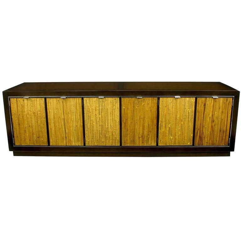 Dark Walnut And Grass Cloth Low Cabinet After Harvey Probber