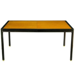 Harvey Probber Walnut and Mahogany Parsons Dining Table