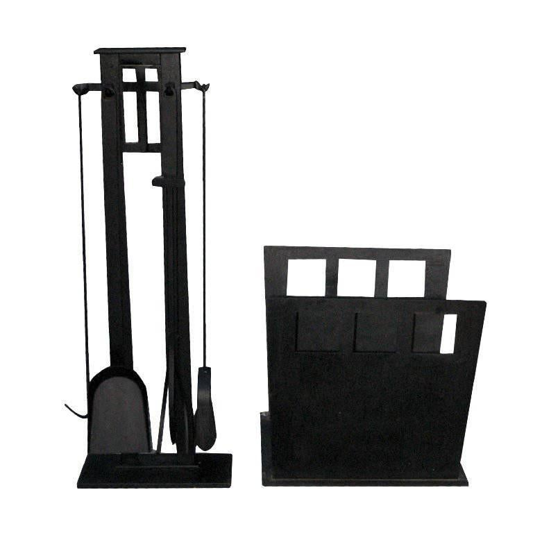 Modernistic Set Of Fire Tools And Log Holder For Sale At 1stdibs