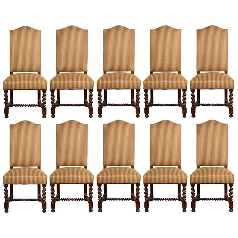 Set of Ten Vintage English Style Upholstered Dining Chairs  : goodthumborg1l from www.1stdibs.com size 768 x 767 jpeg 69kB