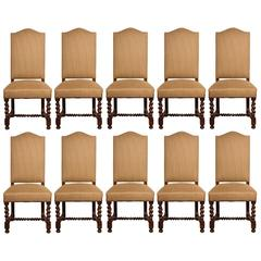 Set of Ten Vintage English Style Upholstered Dining Chairs
