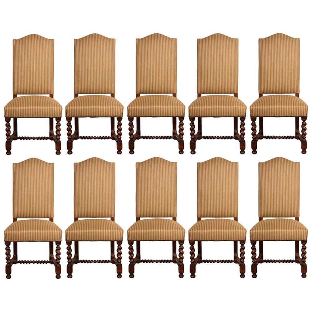Set of ten vintage english style upholstered dining chairs for Upholstered dining chairs for sale