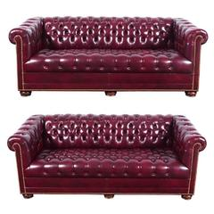 Pair of Tufted Glazed Leather Chesterfield Sofas with Nailhead Trim