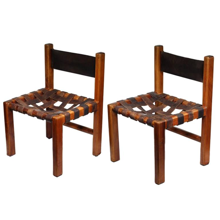 1950s Set Of Two American Studio Craftsman Leather Chairs For Sale