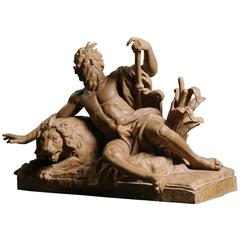 Exceptional Terracotta Statue Le Rhone after Guillaume Coustou