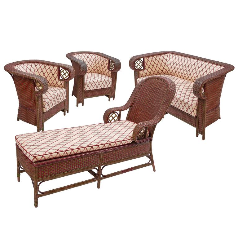 Set of Steamer Rattan Furniture circa 1910 For Sale at