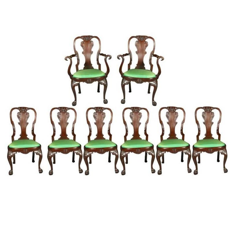 Set of Irish Mahogany Dining Chairs For Sale