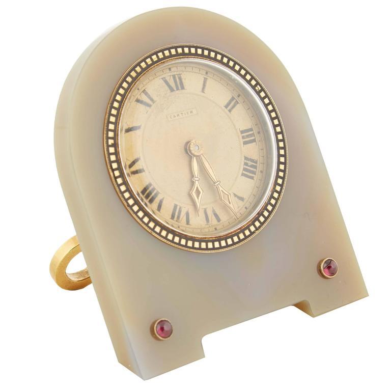 Cartier Art Deco Enamel Agate Desk Clock With Rubies European Watch Co For