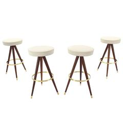 Set of Four Mid-Century Oiled Walnut and Solid Brass Tri-Leg Bar Stools