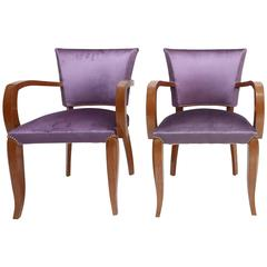 Mahogany Art Deco armchairs with purple velvet upholstery