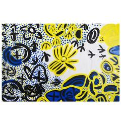 Bright Blue and Yellow Aboriginal Painting by Lily Hargraves