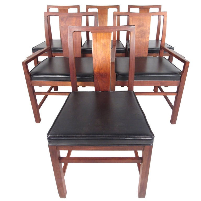 Set of Six Mid-Century Modern American Walnut Dining Chairs For Sale
