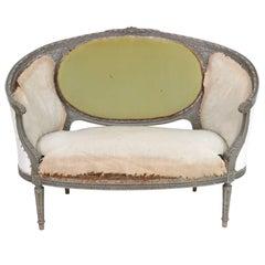 Antique Louis XVI Style Distressed Painted Sofa