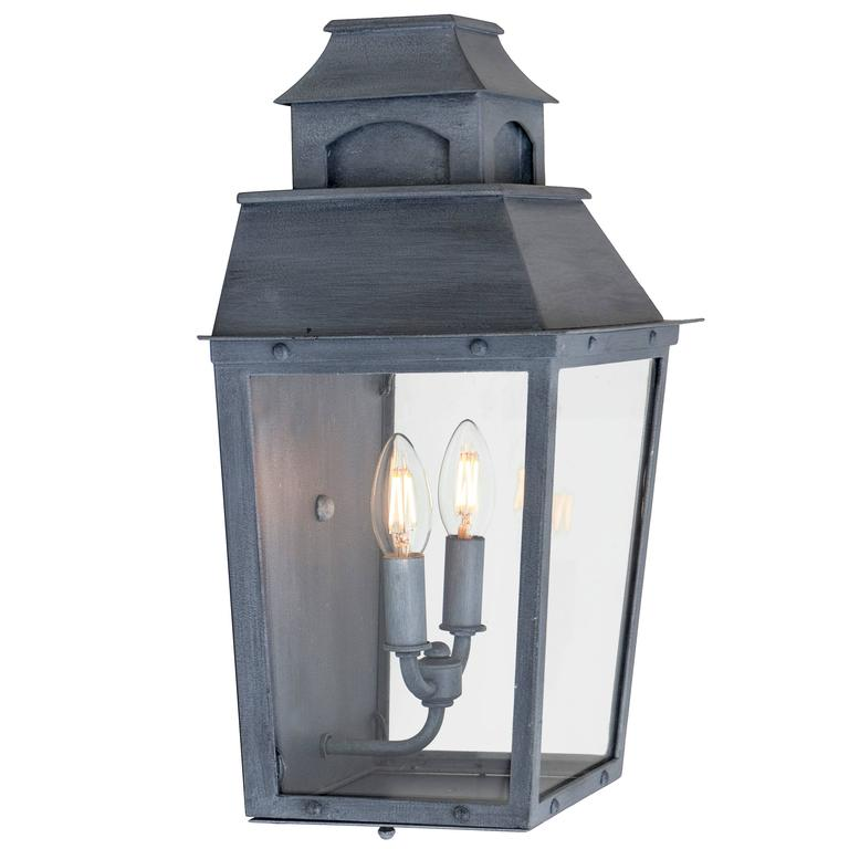 Colonial Custom Inspired Wrought Iron Wall Lantern with Premium Dark Zinc Finish For Sale