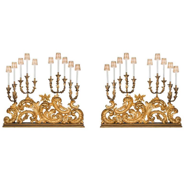 Monumental Pair of Italian 18th Century Baroque Electrified Candelabras