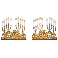 Monumental Pair of Italian 18th Century Baroque Electrified Candelabras