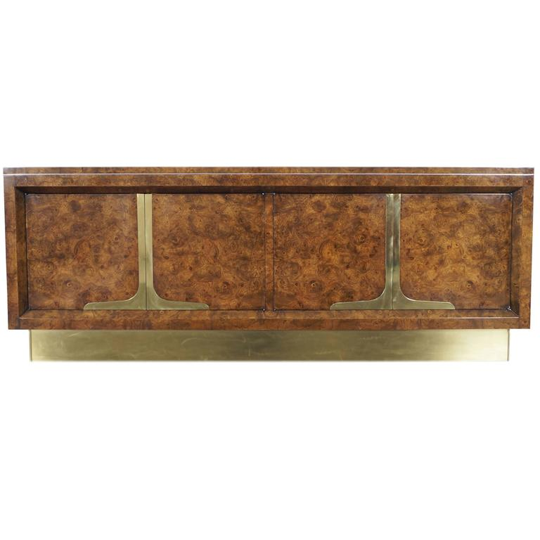 Vintage Burl Wood and Brass Credenza by Mastercraft at 1stdibs