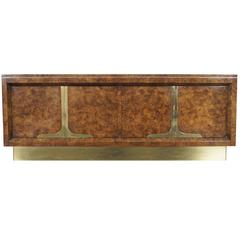Vintage Burl Wood and Brass Credenza by Mastercraft