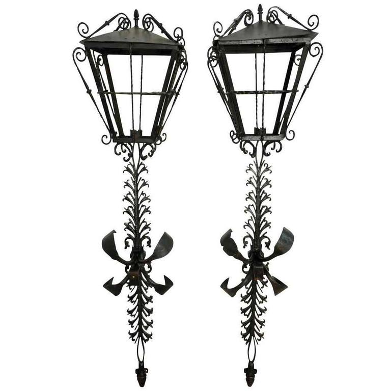 19th Century Pair of Spanish Iron Lanterns