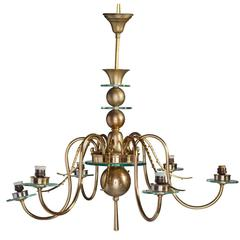 Large 12 Arms Chandelier with Six Lights in Brass and Glass