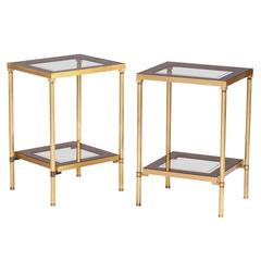 Pair of Side Tables in Brass and Glass