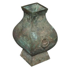 Chinese Han Dynasty Authentic Bronze Hu Vase, circa 200 BC