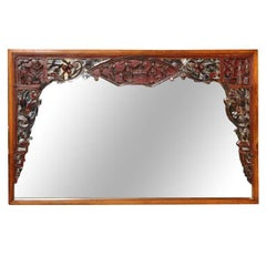 Horizontal Elmwood Mirror with 19th Century Chinese Lacquered Bed Carving