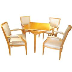 Art Deco Game Table and Chairs in Sycamore