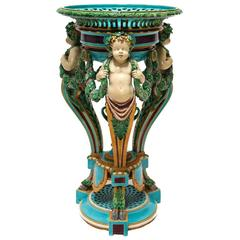 19th Century Minton Majolica Figural Pedestal Planter