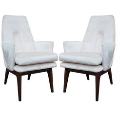 Excellent Pair of Adrian Pearsall High Back Lounge Chairs