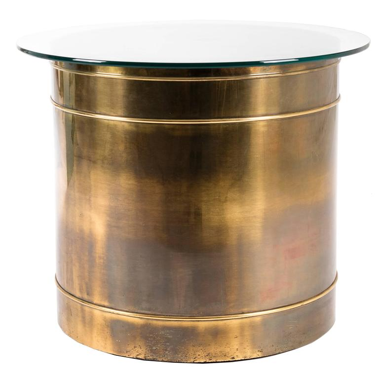 Beau Mastercraft Brass Drum Table For Sale