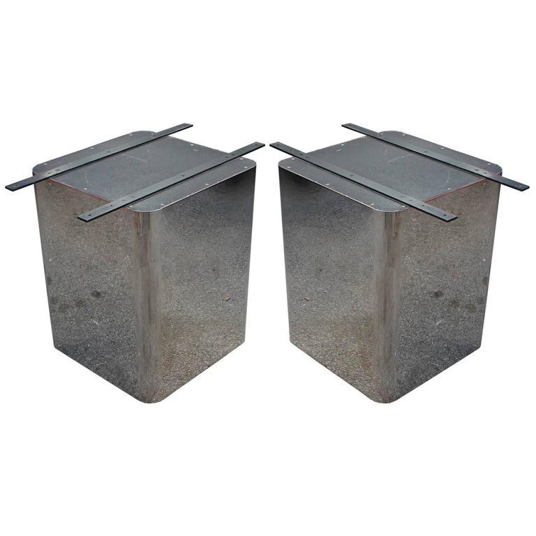 Sleek Pair Of Chrome Pedestal Modern Minimalist Dining Table Bases