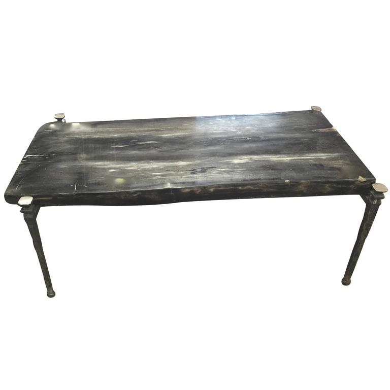 Rectangular Petrified Wood Coffee Table Black And Grey For Sale At 1stdibs