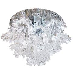 Large Barovier & Toso Style Floral Flush Mount Chrome and Glass Chandelier, 1960